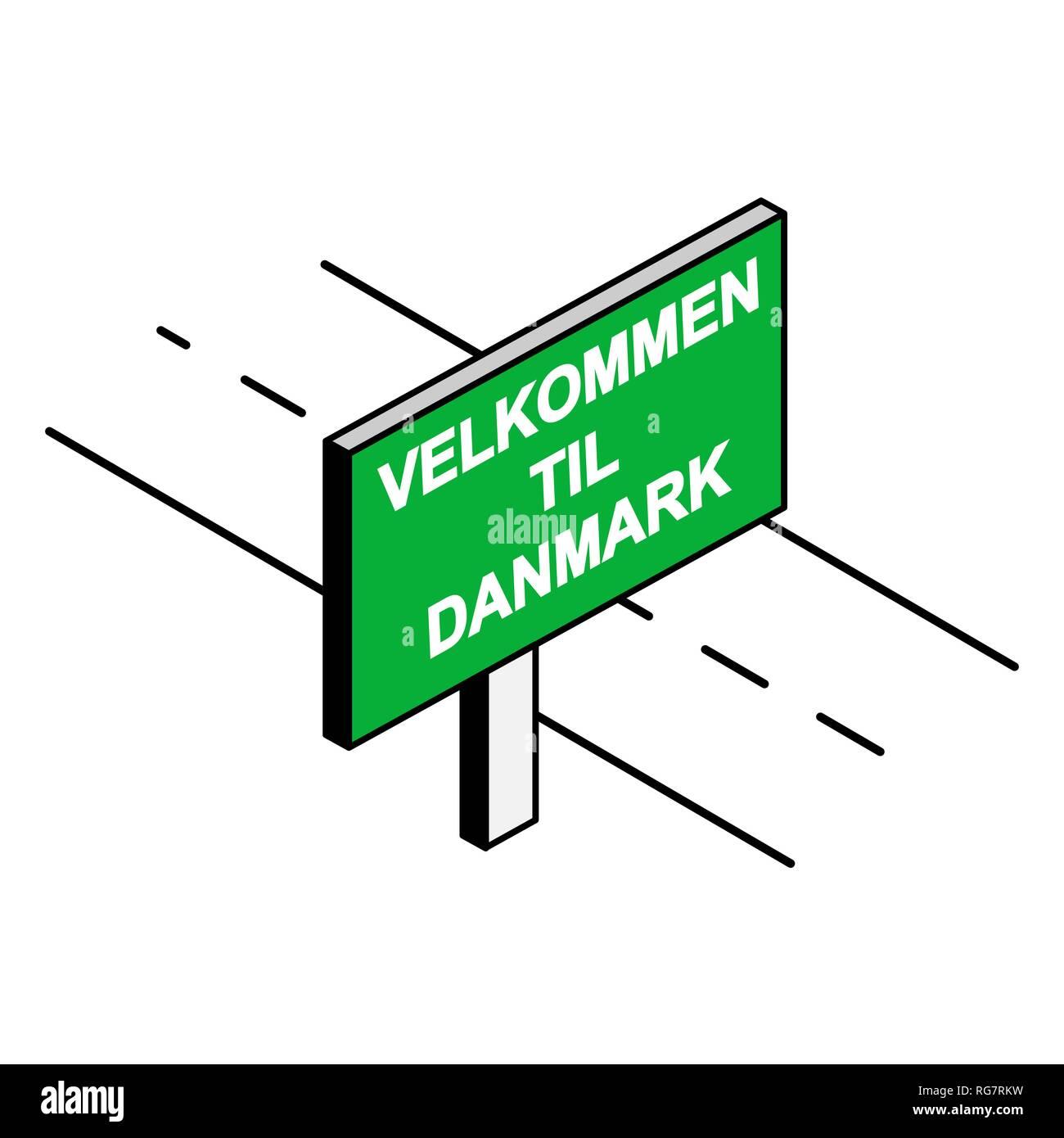 Affissioni per la strada con la scritta Benvenuti DANMARK, lingua Danese Illustrazione Vettoriale