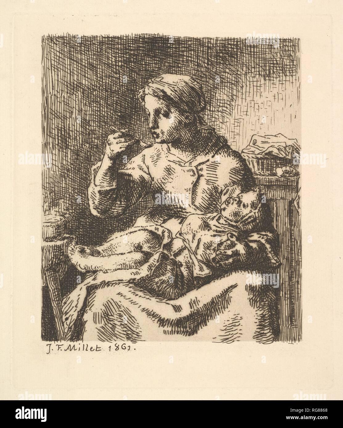 Il raffreddamento del porridge. Artista: Jean-François Millet (Francese, 1814-1875 Gruchy Barbizon). Dimensioni: piastra: 7 5/16 x 6 5/16 in. (18,5 x 16 cm) foglio: 11 x 7 3/8 in. (28 x 18,8 cm). Data: 1861. Museo: Metropolitan Museum of Art di New York, Stati Uniti d'America. Foto Stock