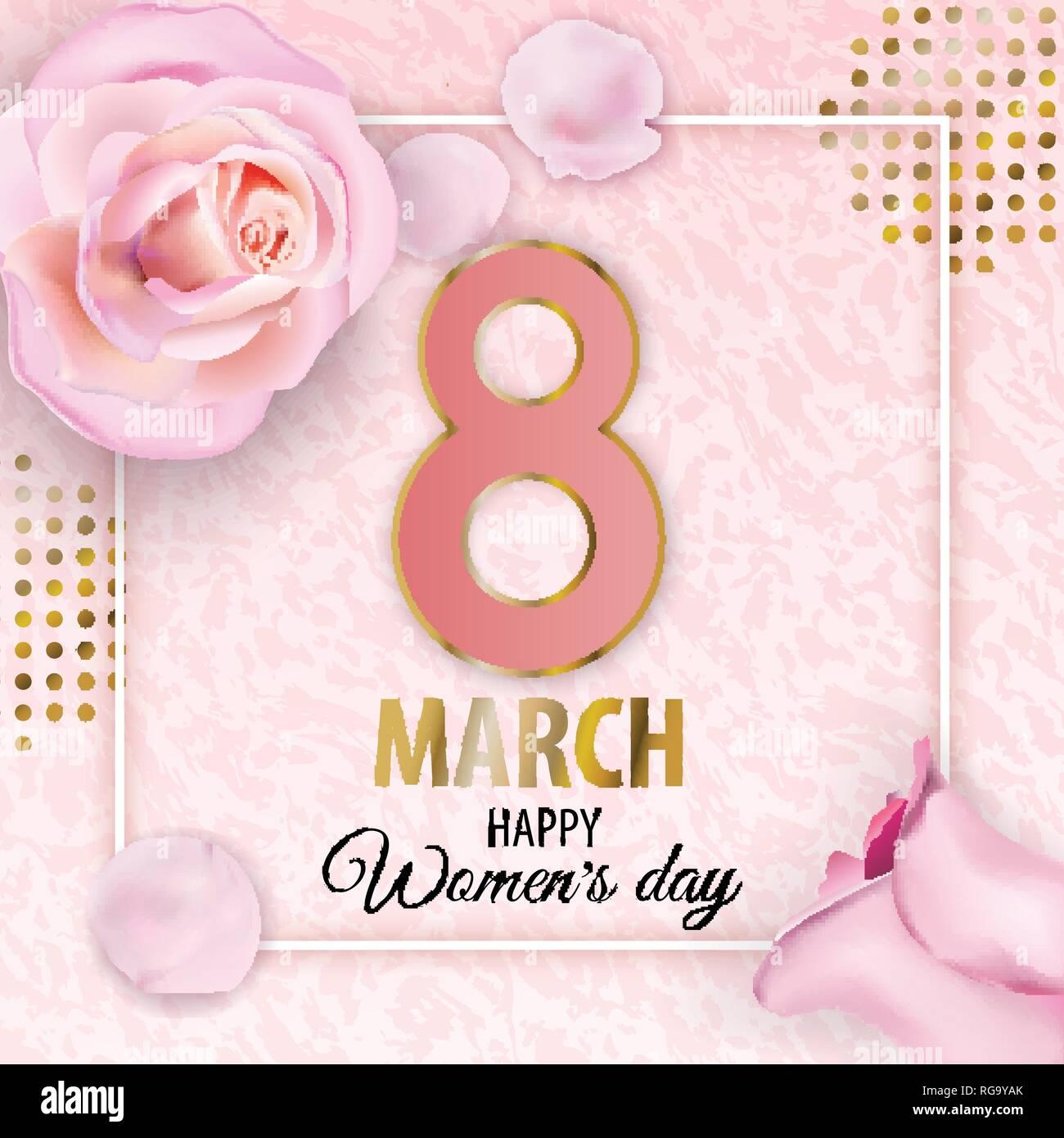 Womens Il Giorno 8 Marzo Vettore Di Rosa Sfondo Marmo Con Il Rosa