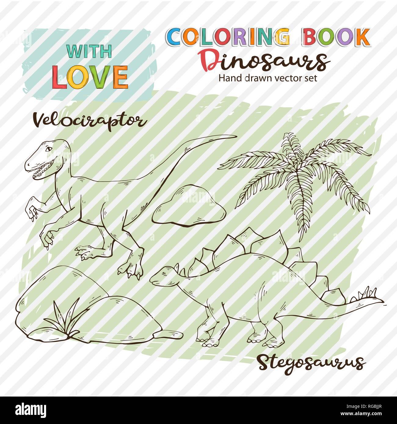 Libro Da Colorare Il Vettore Dinosauri Velociraptor E Stegosaurus
