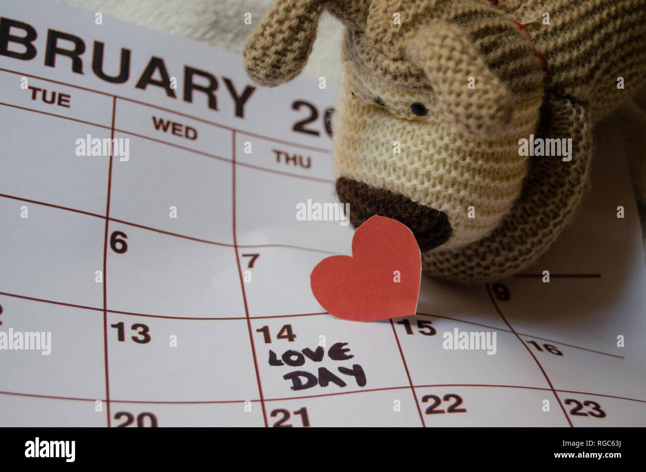 Rossi Sul Calendario.Amore Giorno Carta Cuori Rossi Marcatura 14 Febbraio Il