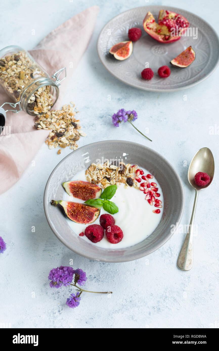 Ciotola di yogurt naturale con frutta muesli, lamponi, fichi e i semi di melograno Foto Stock
