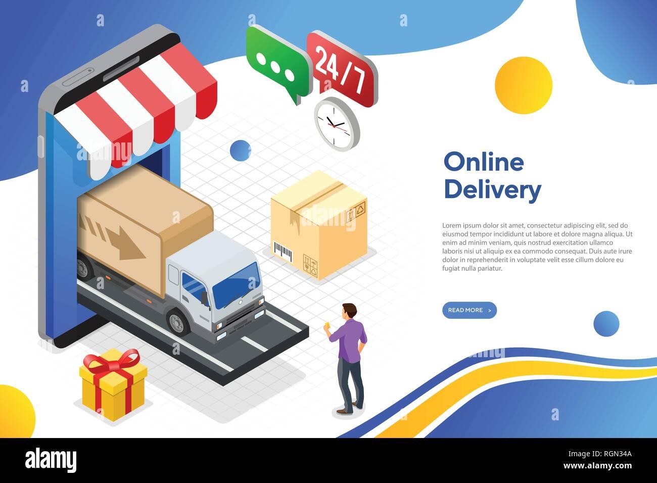 c848024fc8 Internet Shopping Online consegna concetto isometrica Illustrazione ...