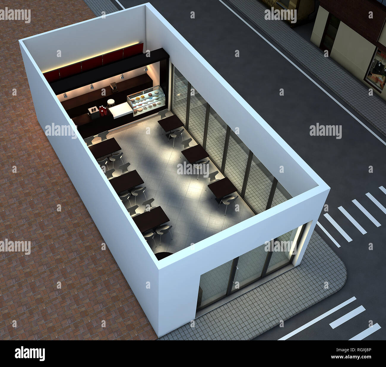 3d Render Di Bright Coffee Shop Interno Foto Stock Alamy