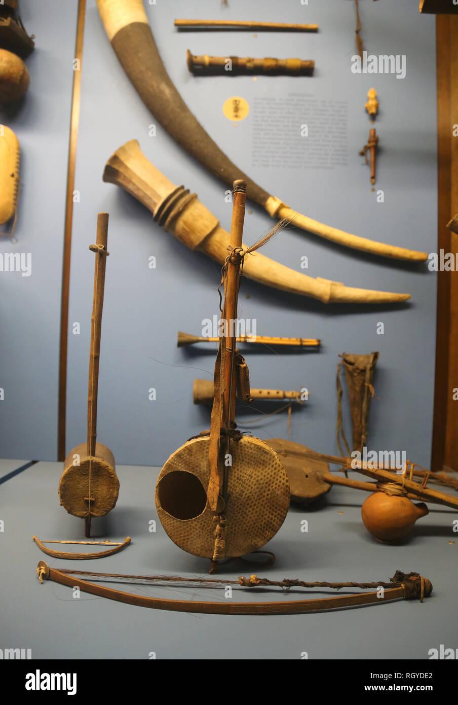L'Africa. Strumenti musicali. Il Museo Americano di Storia Naturale. New York. Stati Uniti. Immagini Stock