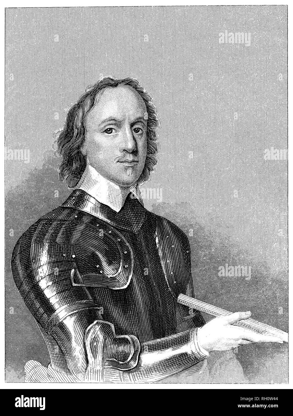 1853 vintage incisione di Oliver Cromwell. Immagini Stock