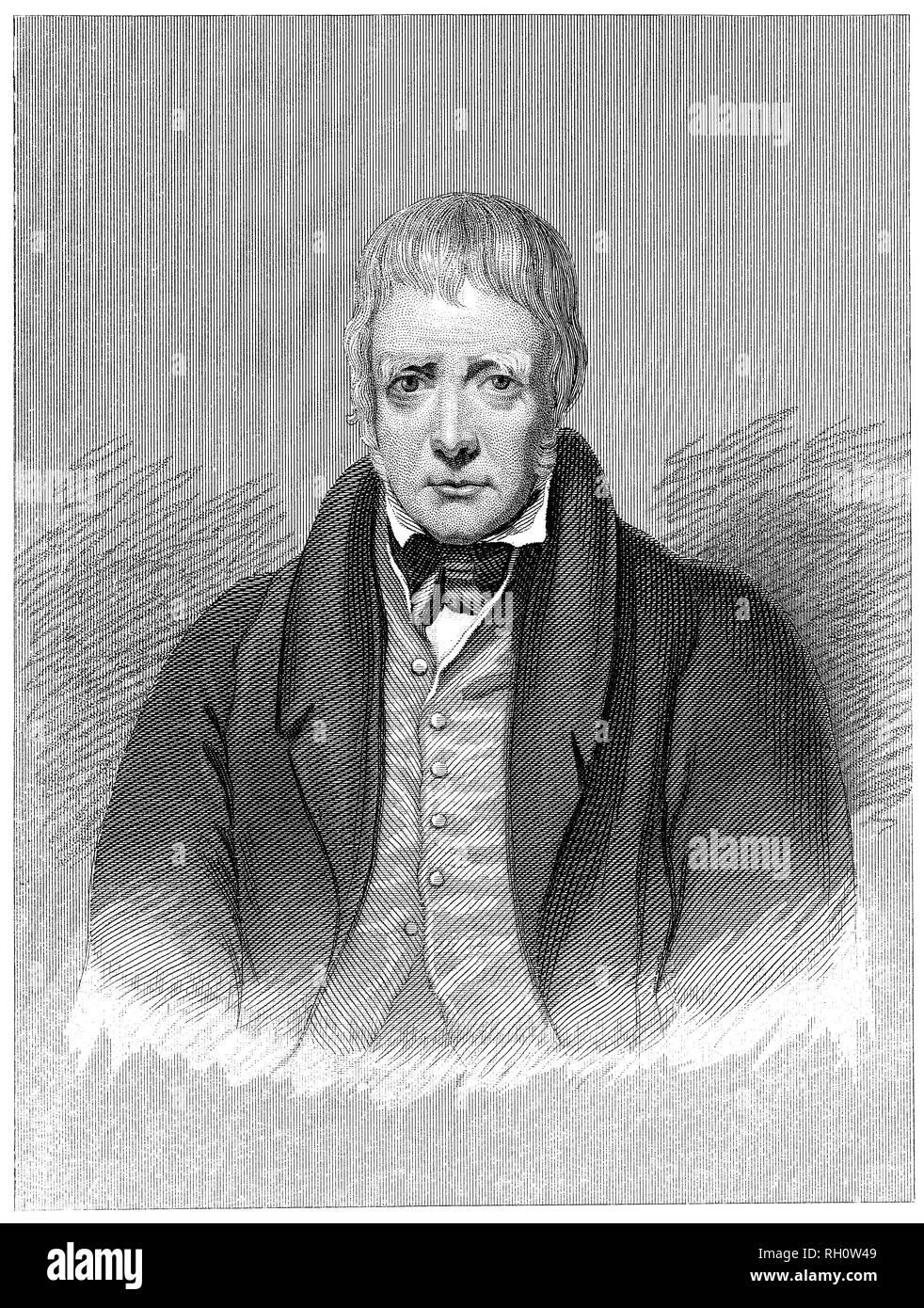 1853 vintage incisione di Sir Walter Scott. Immagini Stock
