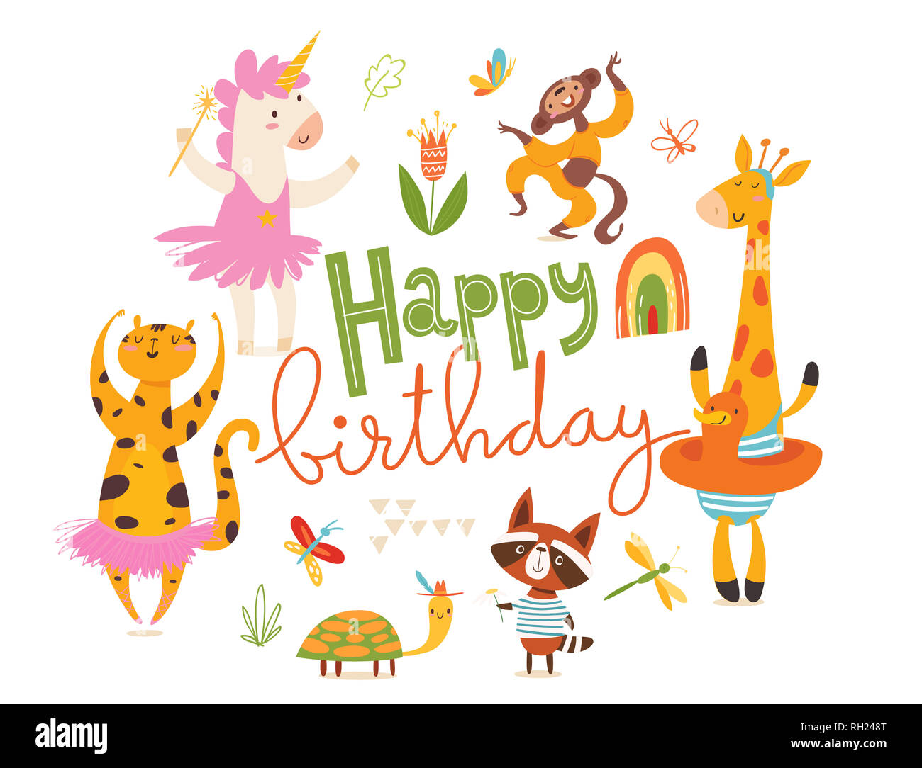 Buon Compleanno Card Serie Di Divertenti Disegnati A Mano Gli
