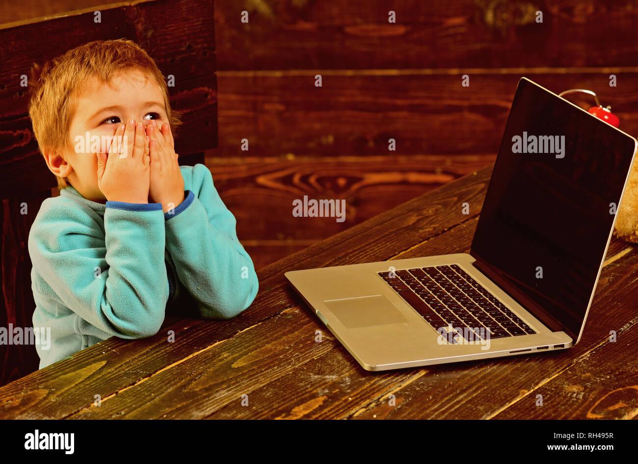 Educazione on line. Online istruzione nella scuola elementare. Little Boy utilizzare laptop in educazione on line. Corsi di formazione online per il bambino. Accelerando nel Immagini Stock