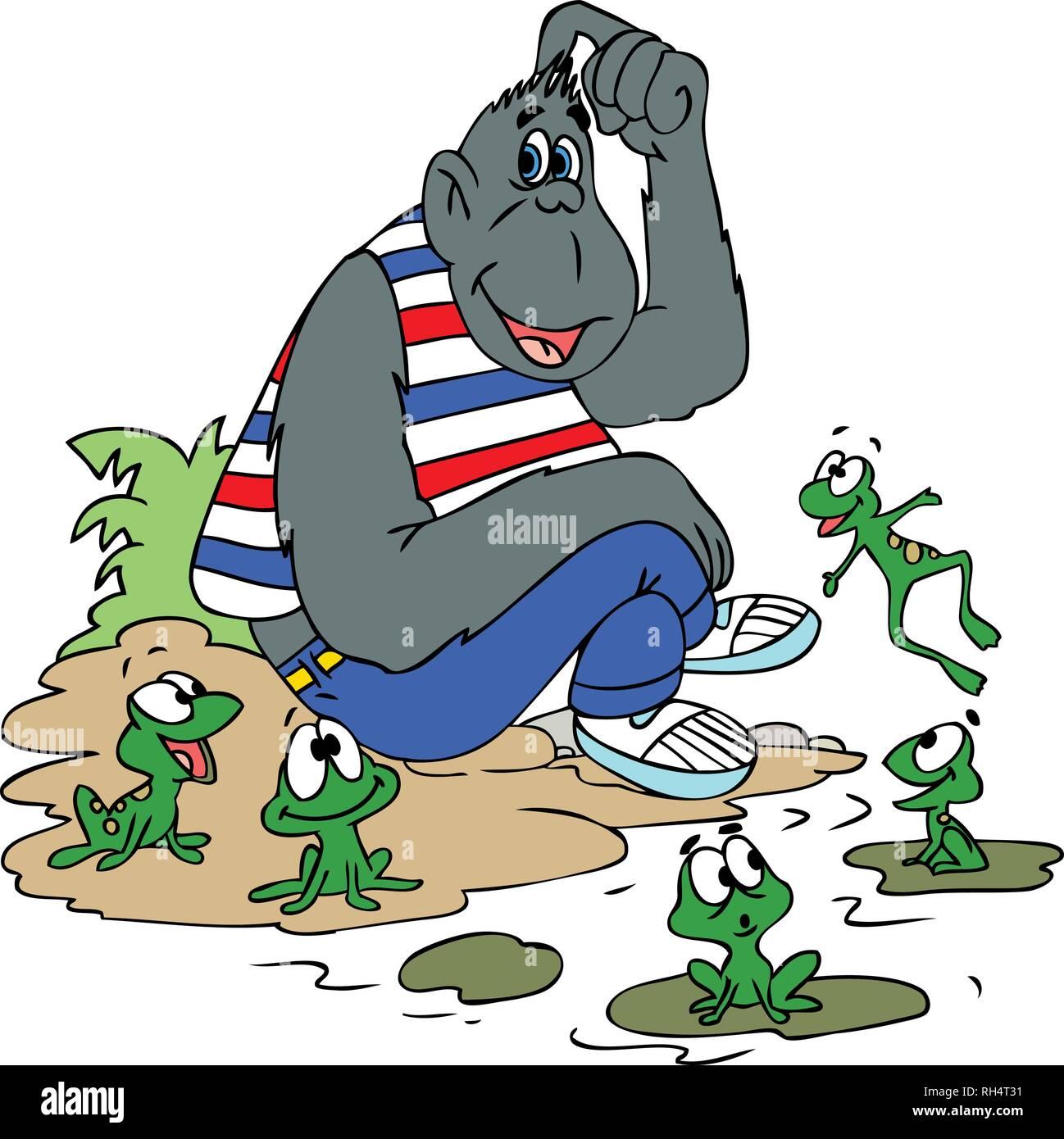 Illustrazione vettoriale di un cartoon gorilla seduto con i suoi amici di rana Immagini Stock