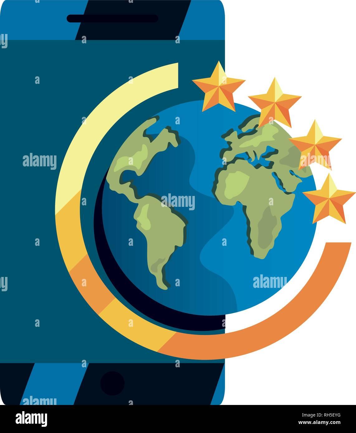 Cellulare mondo copyright di proprietà intellettuale illustrazione vettoriale Illustrazione Vettoriale