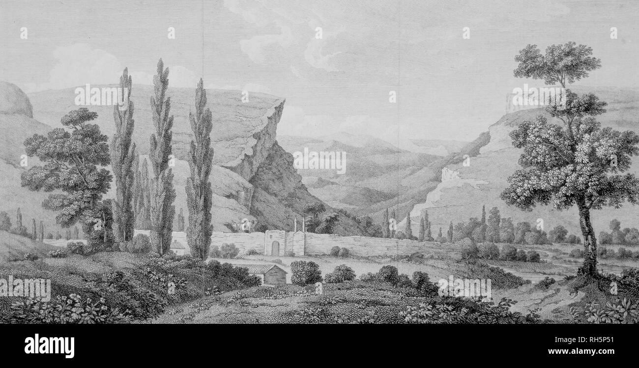 Alexandre de Paldo. Kachi Kalyon in Crimea. La litografia, 1805. Kachi Kalyon è una grotta medievale monastero, situato nella pittoresca valle Kachinskaya Bakhchysarai nei dintorni. Immagini Stock