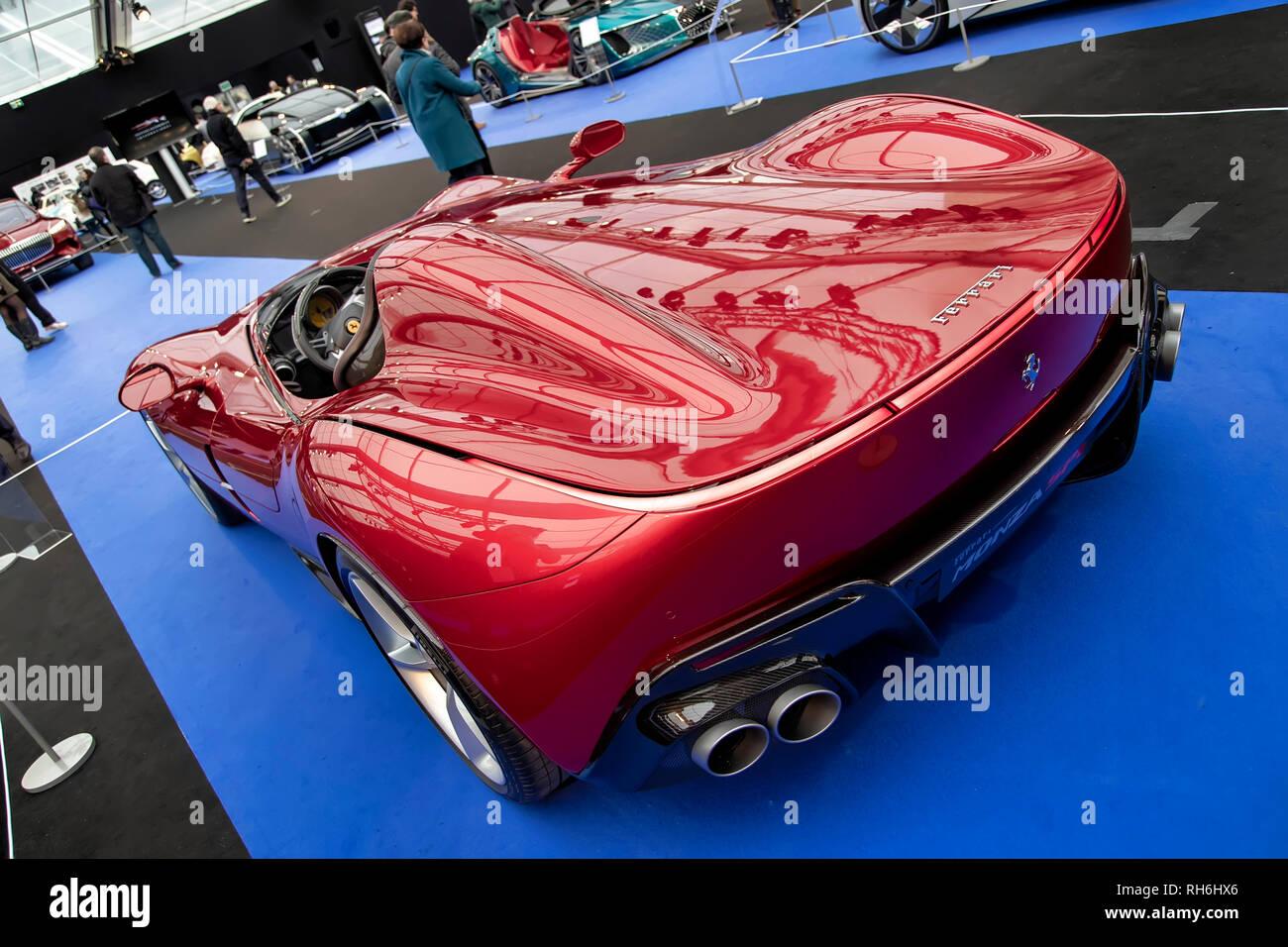 Parigi, Francia. 31 gennaio, 2019. A Monza la Ferrari SP1 prototipo - La International Automobile Festival riunisce a Parigi le più belle concept car realizzata dai costruttori di automobili, dal 30 di gennaio-febbraio 31st, 2019. Credito: Bernard Menigault/Alamy Live News Immagini Stock