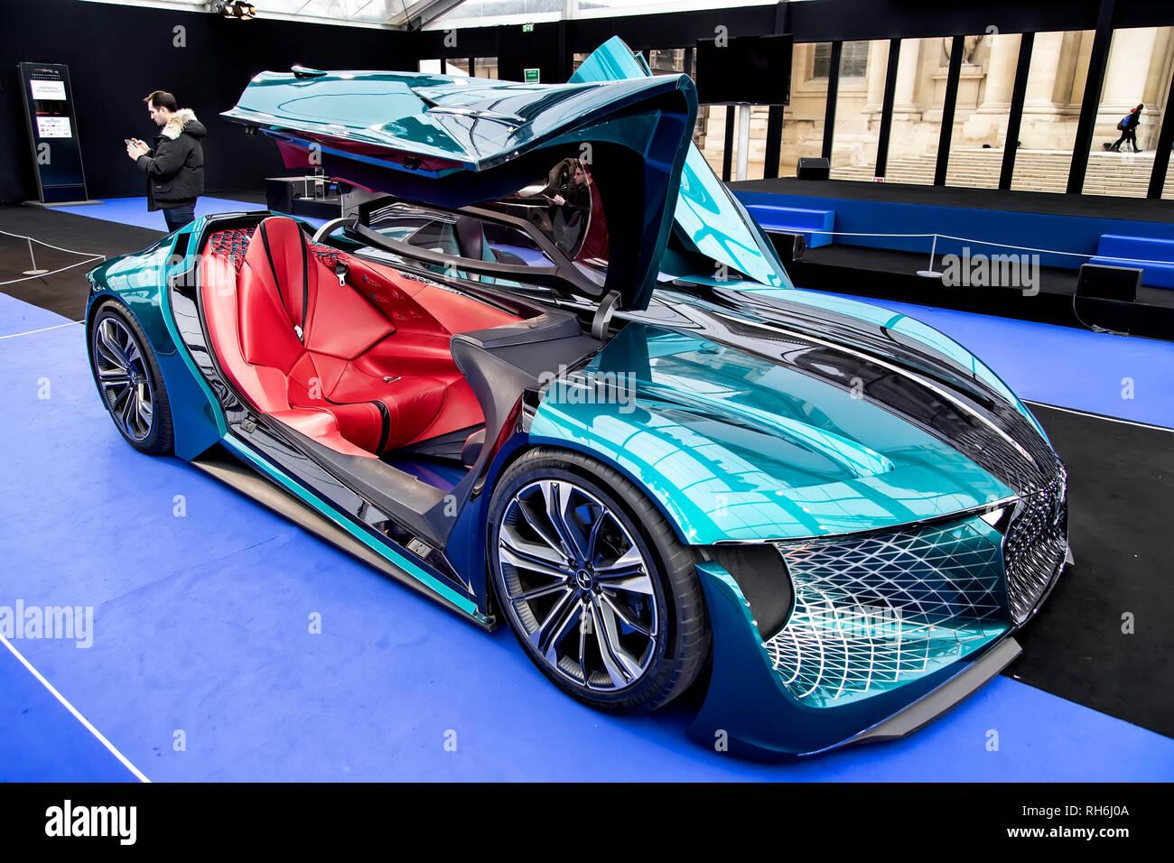 Parigi, Francia. 31 gennaio, 2019. DS X E-tesa - La International Automobile Festival riunisce a Parigi le più belle concept car realizzata dai costruttori di automobili, dal 30 di gennaio-febbraio 31st, 2019. Credito: Bernard Menigault/Alamy Live News Immagini Stock