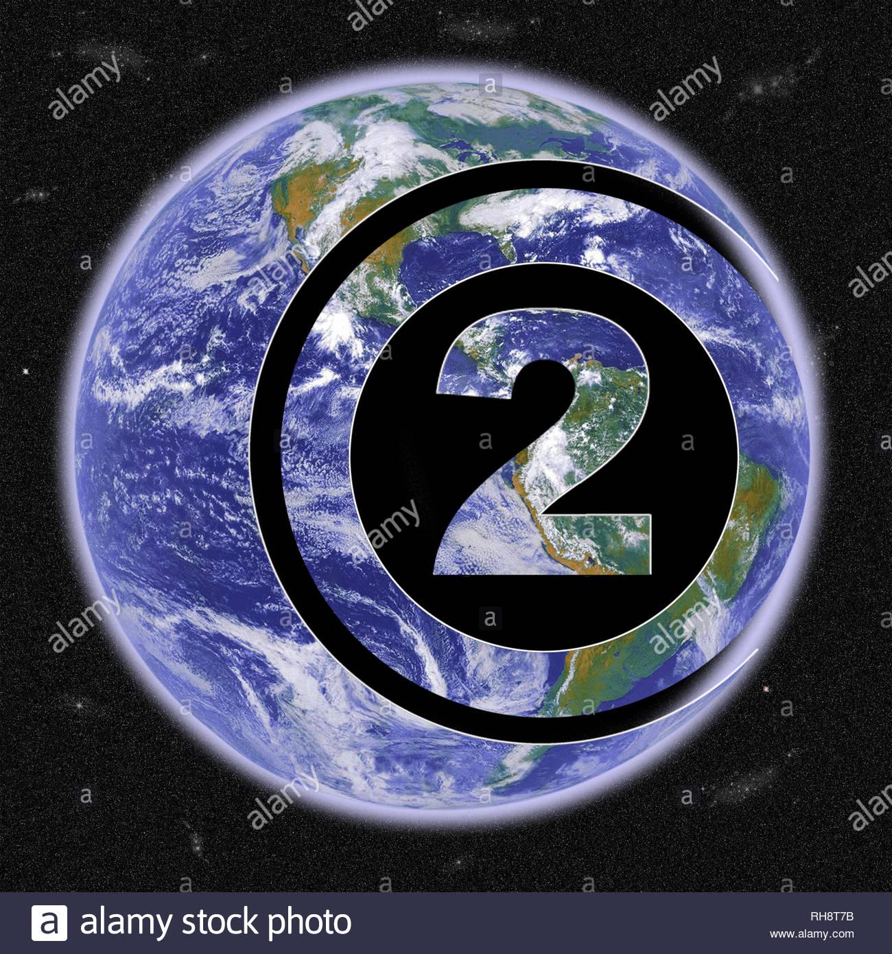 Il riscaldamento globale. Il pianeta terra mostrata come una versione del simbolo chimico...CO2 o biossido di carbonio. Immagini Stock