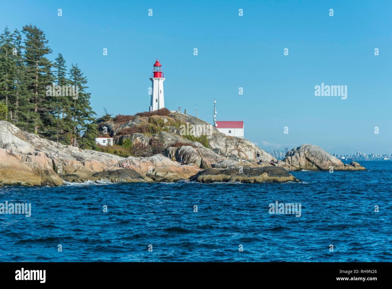 Faro, punto Atkinson faro, Howe Sound, Vancouver, British Columbia, Canada Foto Stock