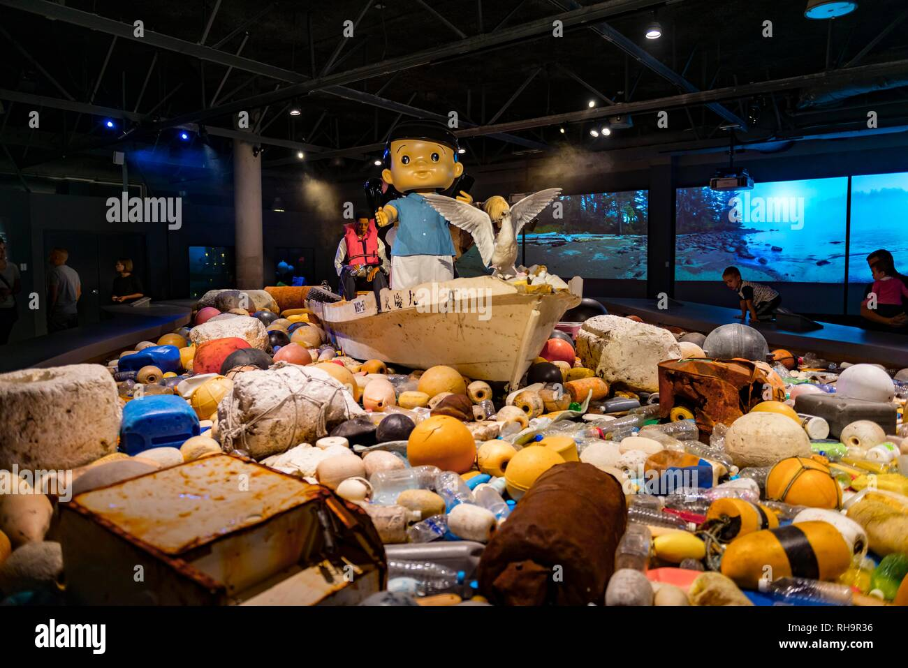 Inquinamento, scultura in mare, artwork da Douglas Coupland, Aquarium di Vancouver, British Columbia, Canada Immagini Stock