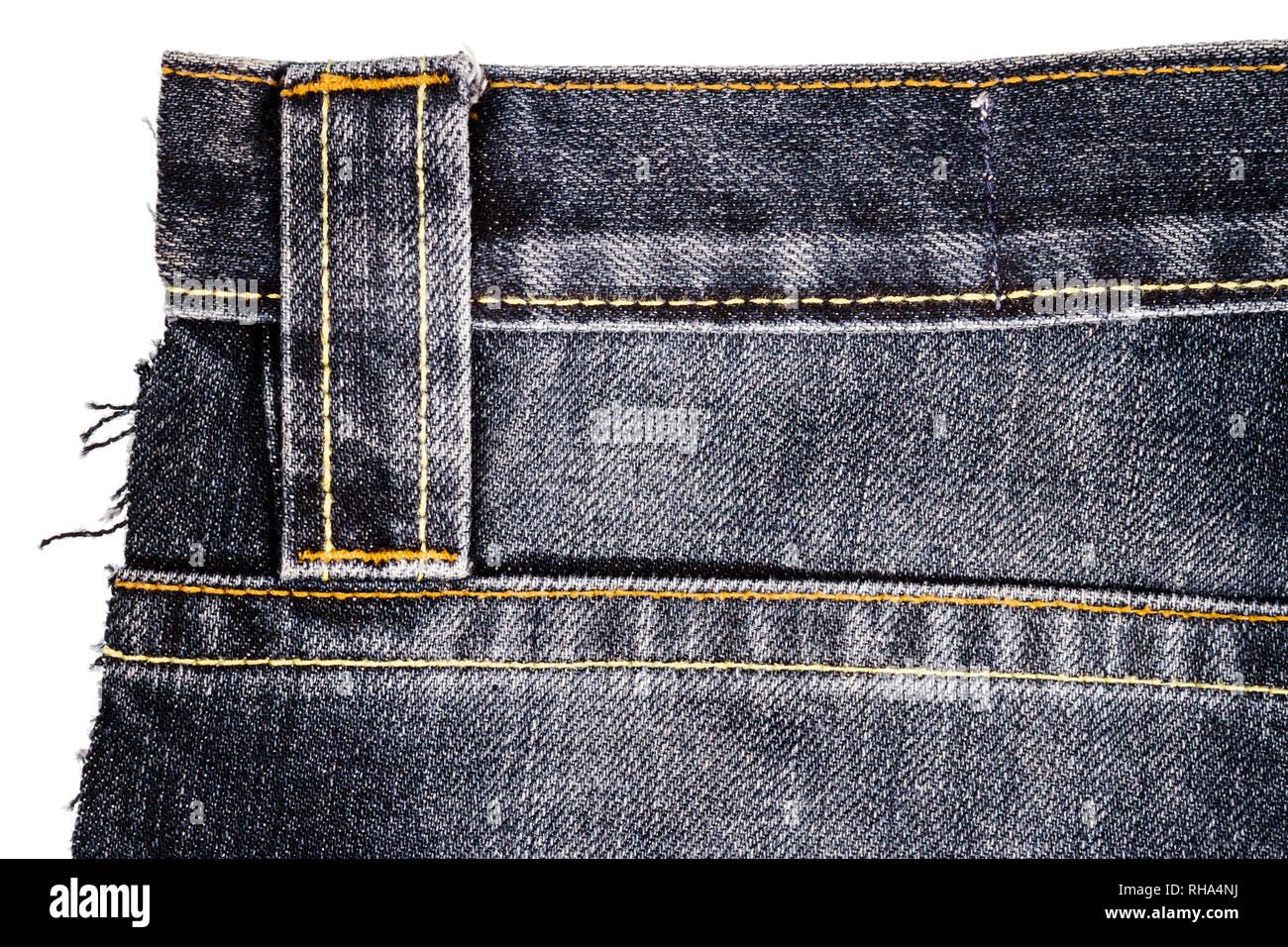 Pezzo di nero in tessuto jeans con stichies isolati su