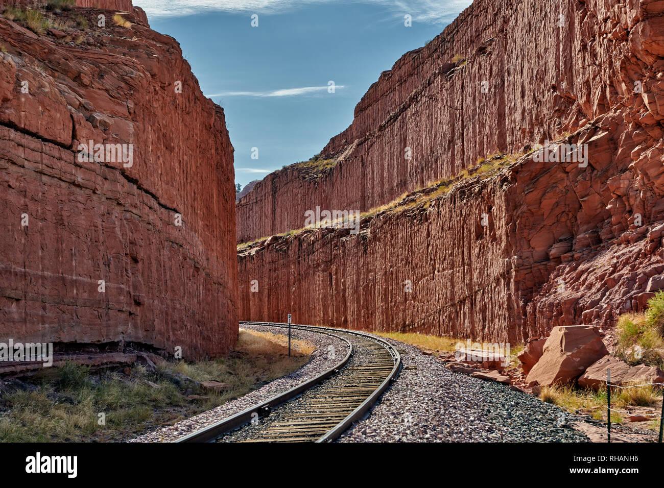 Stazione ferroviaria vicino arco di corona, Moab, Utah, USA, America del Nord Immagini Stock