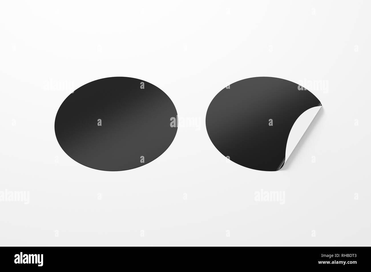 Bianco Nero Tondo Stickers Raddrizzato E Con Angolo Piegato Su
