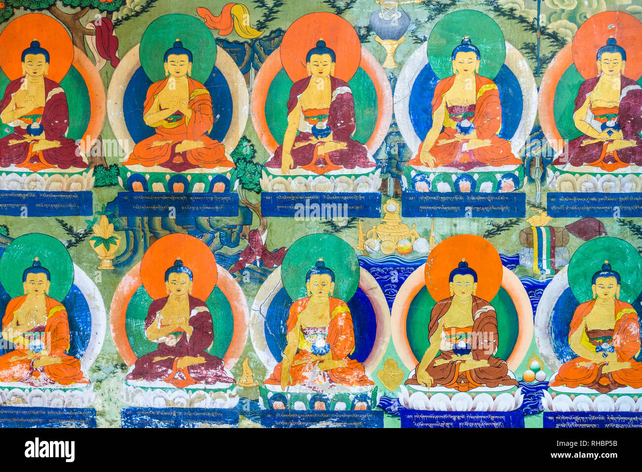 Dipinti del Buddha in Tashi Lhunpo monastero, Shigatse, nel Tibet Immagini Stock