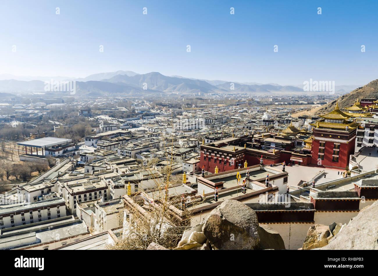 Tashi Lhunpo monastero e la città di Shigatse, Shigatse, nel Tibet Immagini Stock