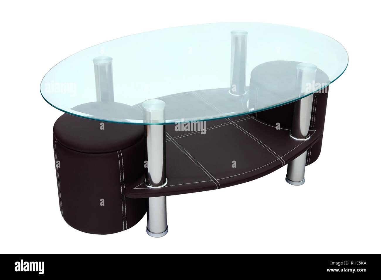 Caffè di lusso tavolini e sgabelli. rotondo in vetro e pelle marrone
