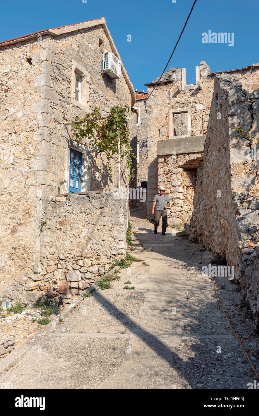 Un visitatore a velo Grabje, Hvar, Croazia Immagini Stock