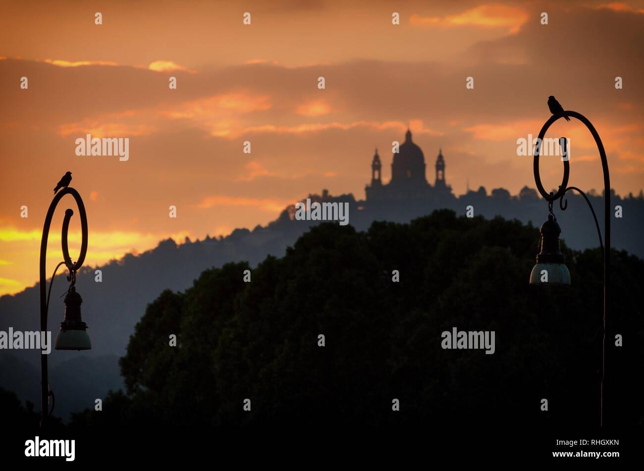 Torino Basilica di Superga di sunrise Foto Stock