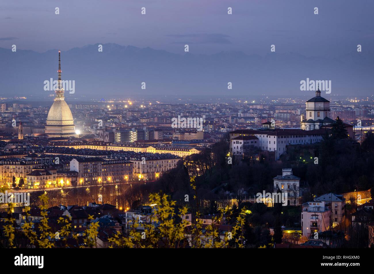 Torino alta definizione panorama con Mole Antonelliana1 Foto Stock