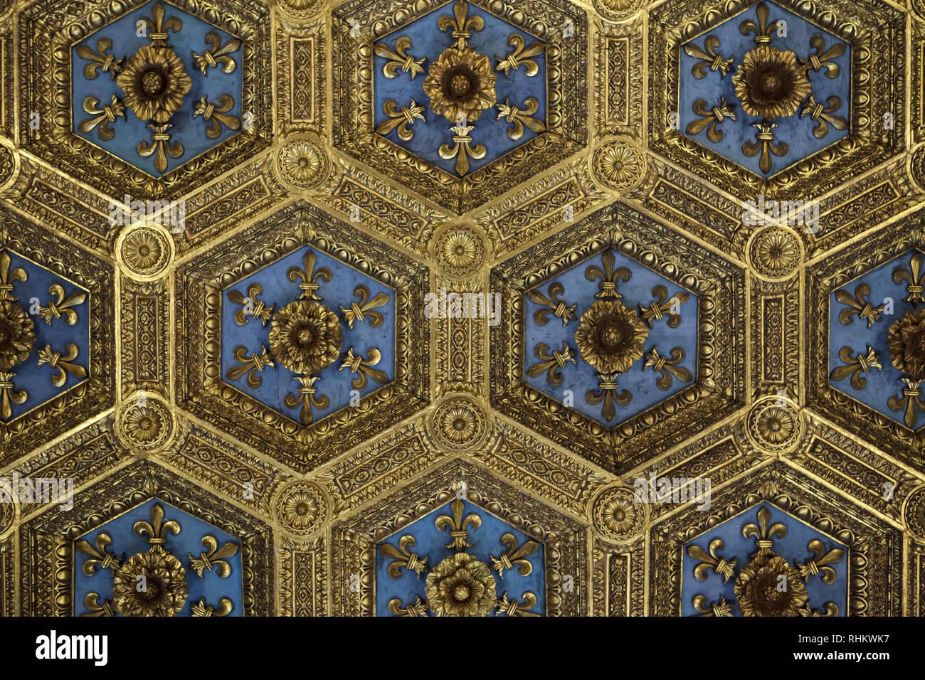 Dorato soffitto a cassettoni decorato da gigli araldici progettato