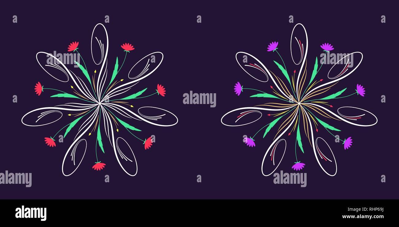 Floral fiorire ornamento in stile calligrafico con 7 raggi di ripetizione. Vettore decorazione radiale, round bouquet di erbe con fiori e foglie, rami Immagini Stock