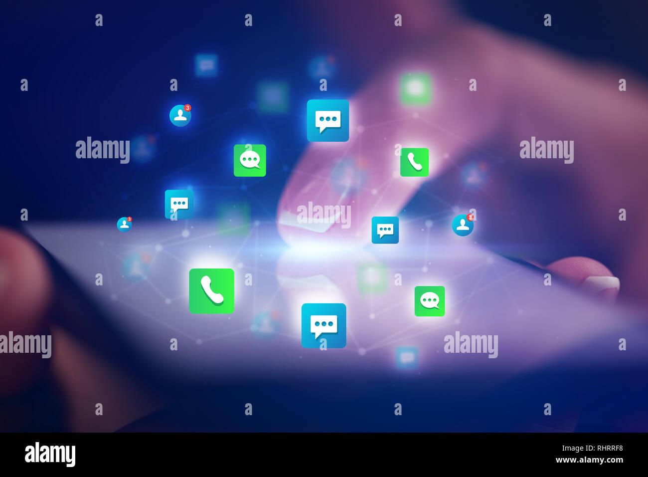 Dito Toccando Telefono Con Amici E Concetto Di Contatto E Uno Sfondo