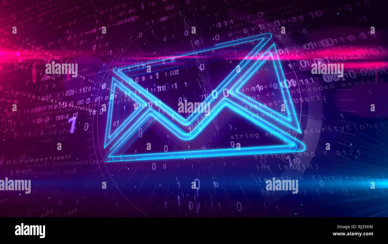 Comunicazioni E-mail nel cyberspazio con il simbolo della busta su sfondo digitale. Messaggio digitale icona concetto astratto 3D'illustrazione. Immagini Stock