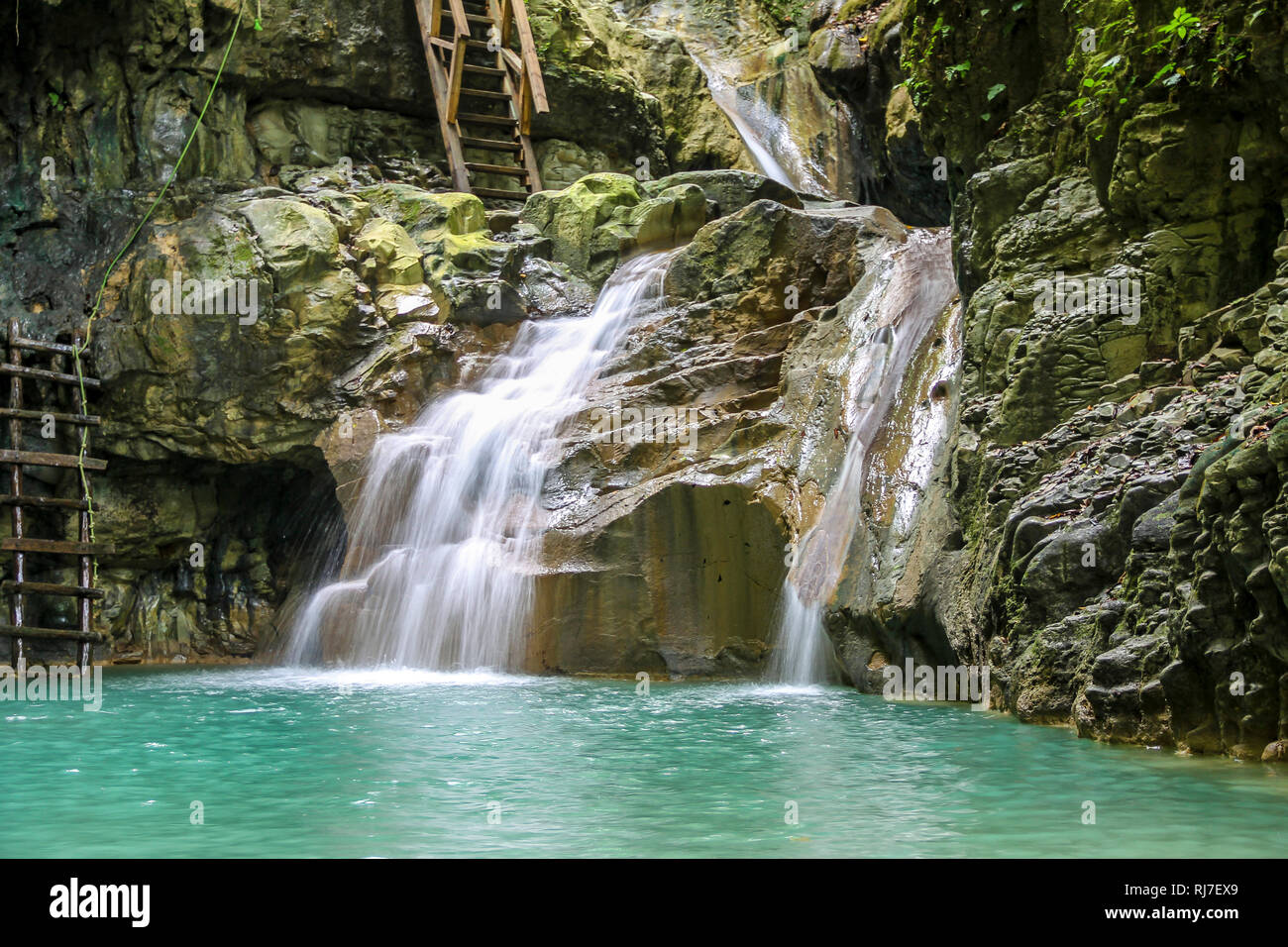 Große Antillen, Karibik, Dominikanische Republik, Imbert, Naturjuwel 27 Charcos de Damajagua Foto Stock