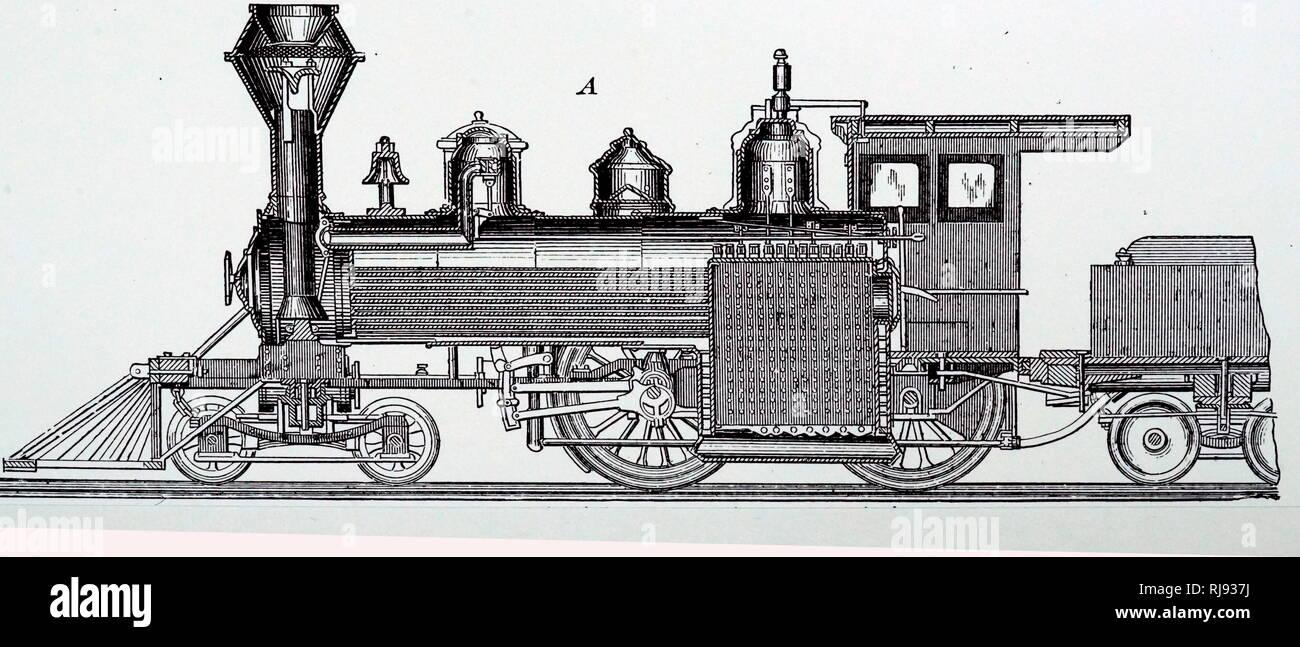 Una incisione raffigurante la sezione centrale longitudinale di un locomotore da locomotiva Baldwin opere. Datata del XIX secolo Immagini Stock