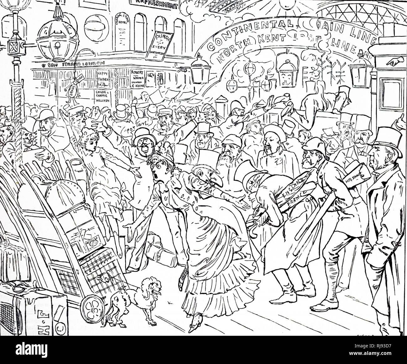 Un cartoon raffigurante il caotico stato della stazione di Charing Cross. Illustrato da Harry Furniss (1854-1925) un artista e illustratore. Datata del XIX secolo Immagini Stock