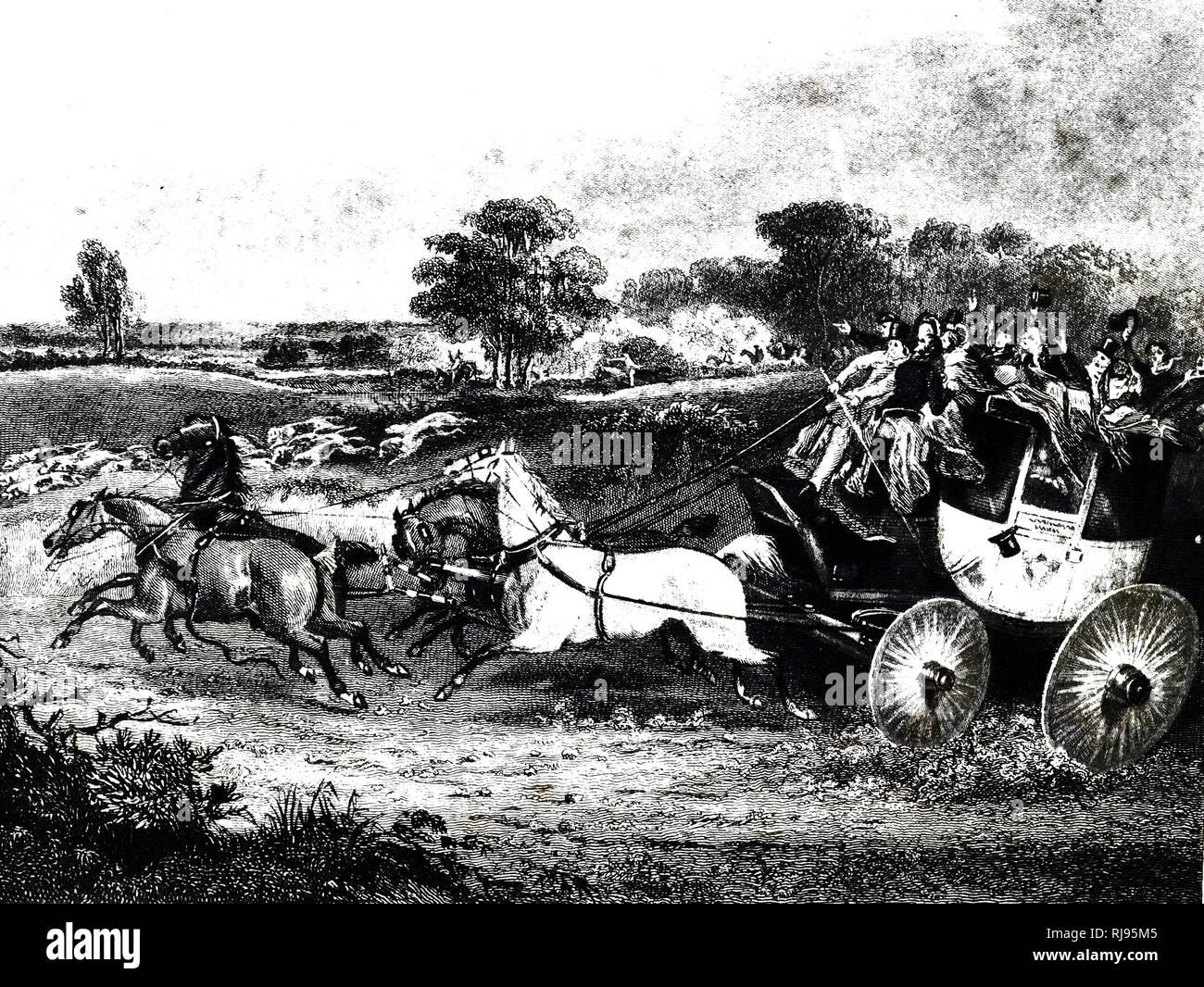 Illustrazione di un runaway diligenze con il terrore dei passeggeri, come un pack di cani da caccia passa nelle vicinanze. Inglese; 1860 Immagini Stock