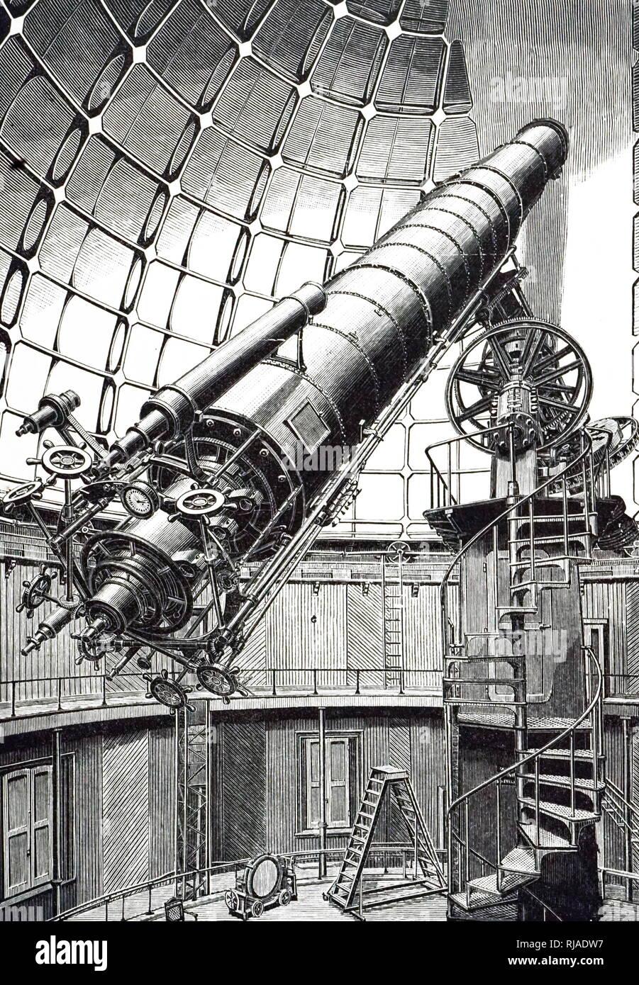 """Una incisione raffigurante un 36 pollici rifrattore al leccare Osservatorio. Uno del mondo più grande di due rifrattori è su un """" Tedesco """" Stile di montaggio equatoriale, con asse parallelo a terra asse polare supportato su un pilastro di alta. Il peso di controbilanciamento per il telescopio mostra chiaramente. In data xx secolo Immagini Stock"""
