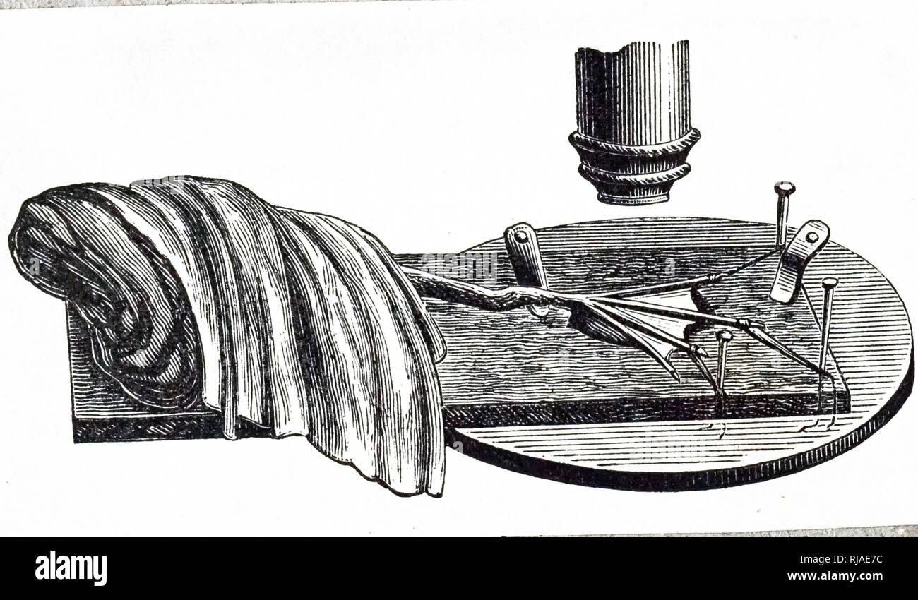 Illustrazione che mostra l'esame di una rana di vivere sotto un microscopio. Tedesco, 1895 Immagini Stock