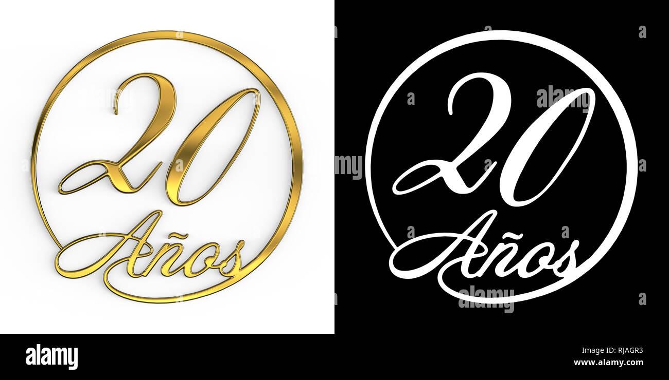 Numero spagnolo venti anni (numero venti anni) in un cerchio, vista dall'alto, con canale alfa. Traduzione dallo spagnolo - anni. 3D illustrazione Immagini Stock