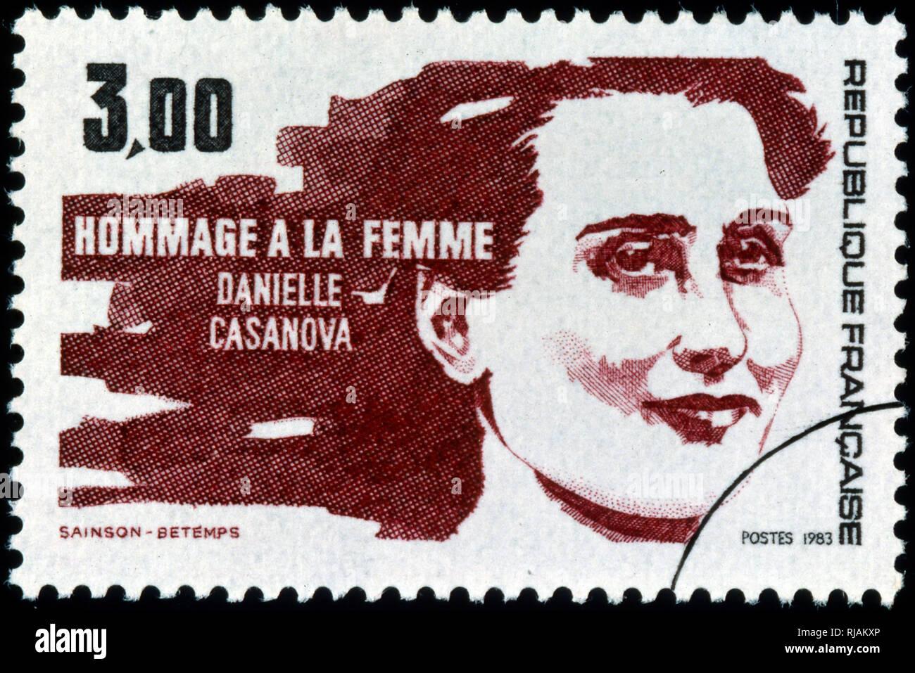 Il francese francobollo commemorativo Danielle Casanova (1909 - 1943); francese militante comunista e membro della resistenza francese Immagini Stock