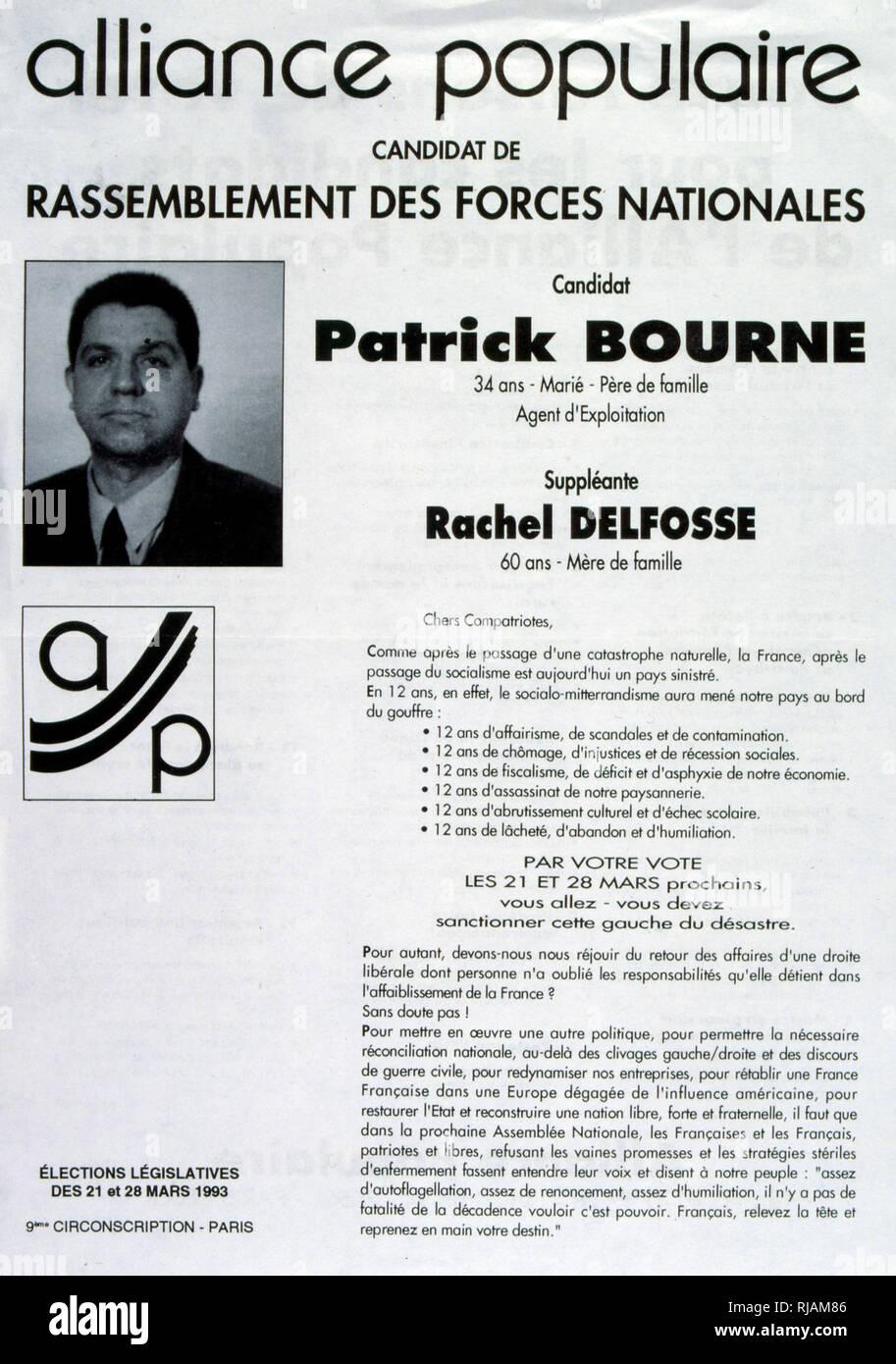Cartellone elettorale per Patrick Bourne dell'Alleanza Popolare partito, Francia 1993 Immagini Stock