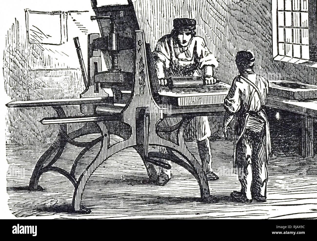 Una incisione raffigurante una stampa litografica premere. Datata del XIX secolo Immagini Stock
