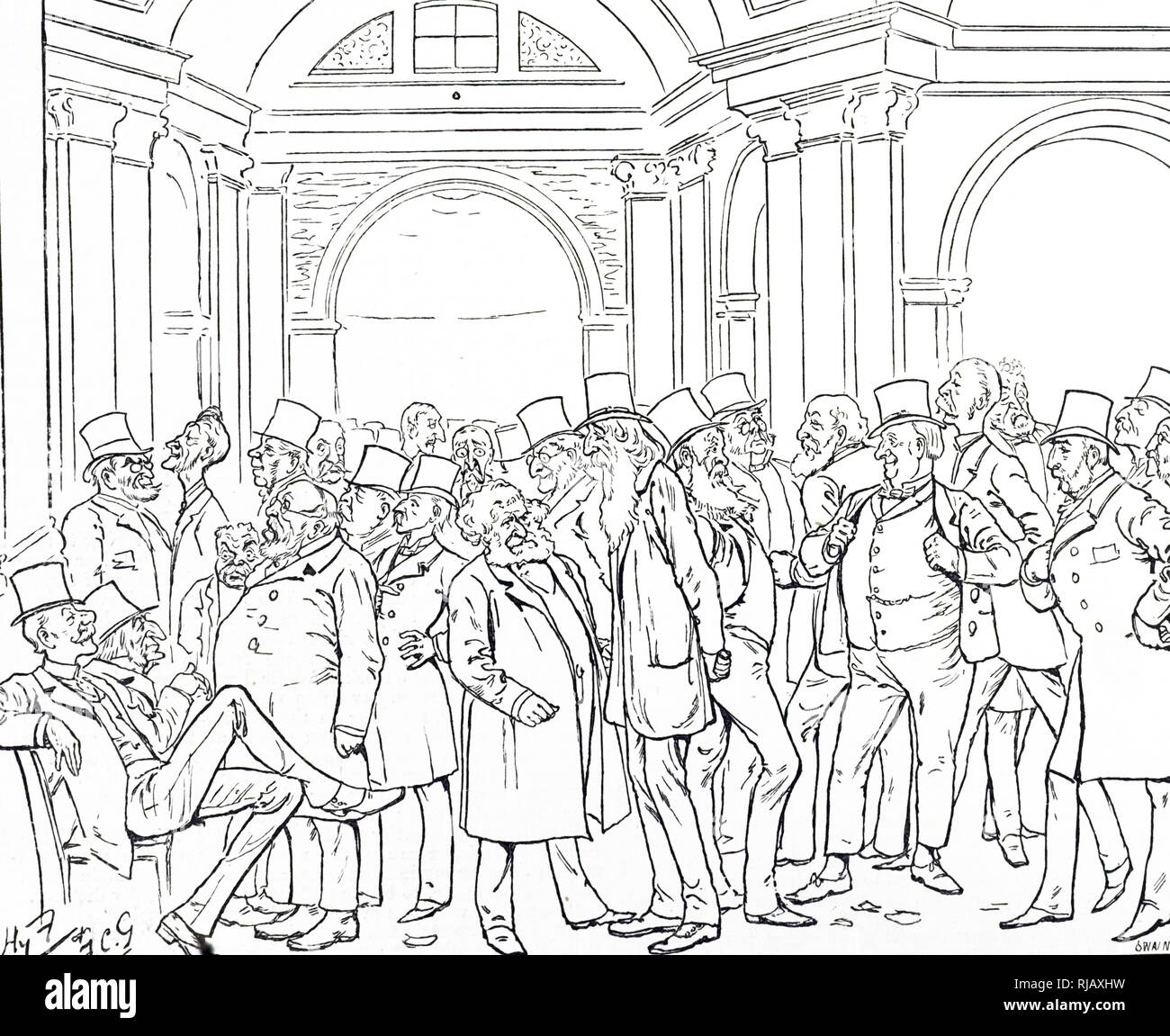 Un cartoon raffigurante una scena caotica presso la Borsa di Londra. Illustrato da Harry Furniss (1854-1925) un artista irlandese e illustrator. Datata del XIX secolo Immagini Stock