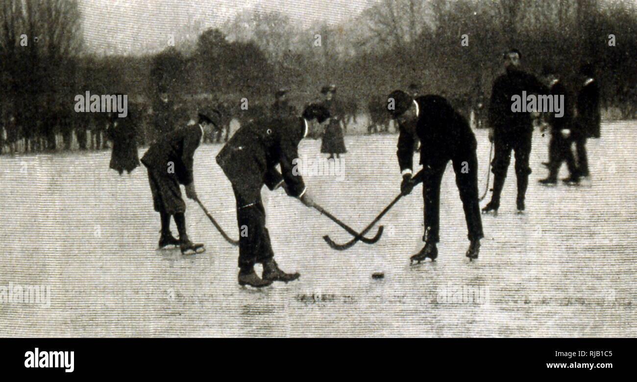 Fotografie di hockey su ghiaccio match in Germania 1902 Immagini Stock