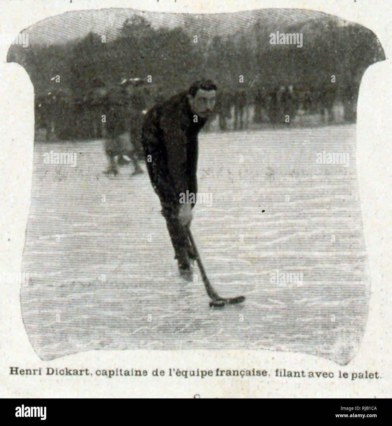 Il francese campione di ciclismo Henri Couturier, noto come Dickard come Hockey su ghiaccio capitano 1902. Il 14 dicembre 1902, un incontro è stato organizzato dal Club des Patineurs sul lago Enghien in collaborazione con il quotidiano L'Auto-Velo e giocatori da HCP. Un disgelo annullata la partita, ma cinque giorni più tardi HCP Captain's, il francese ex campione di ciclismo Henri Couturier, noto come Dickard, richiesto il club essere fuse con il Club des Patineurs. Immagini Stock
