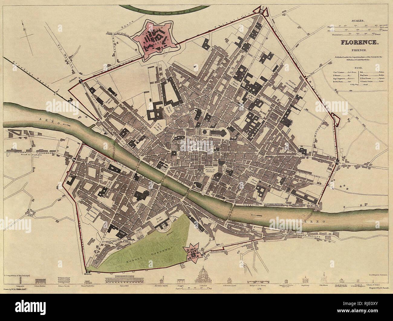 Firenze Cartina Geografica.Mappa Di Firenze Foto Stock Alamy