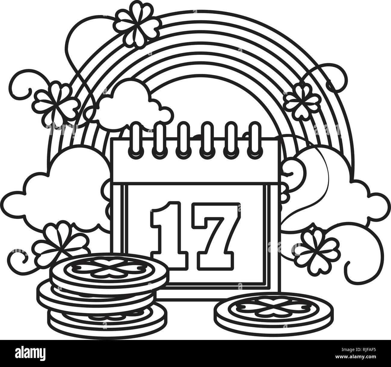 Calendario Rainbow.Pila Di Monete Con Il Calendario E Rainbow Illustrazione