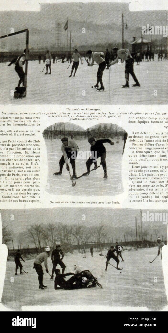 Fotografie di partite di hockey su ghiaccio in Germania 1902 Immagini Stock